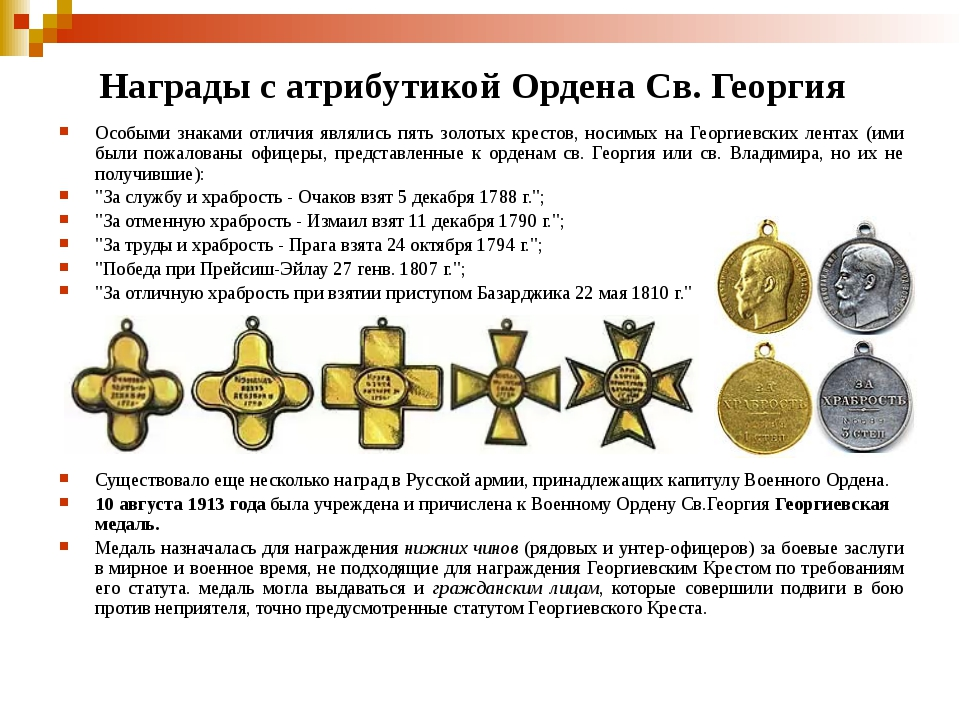 Награды с атрибутикой Ордена Св. Георгия Особыми знаками отличия являлись пят...