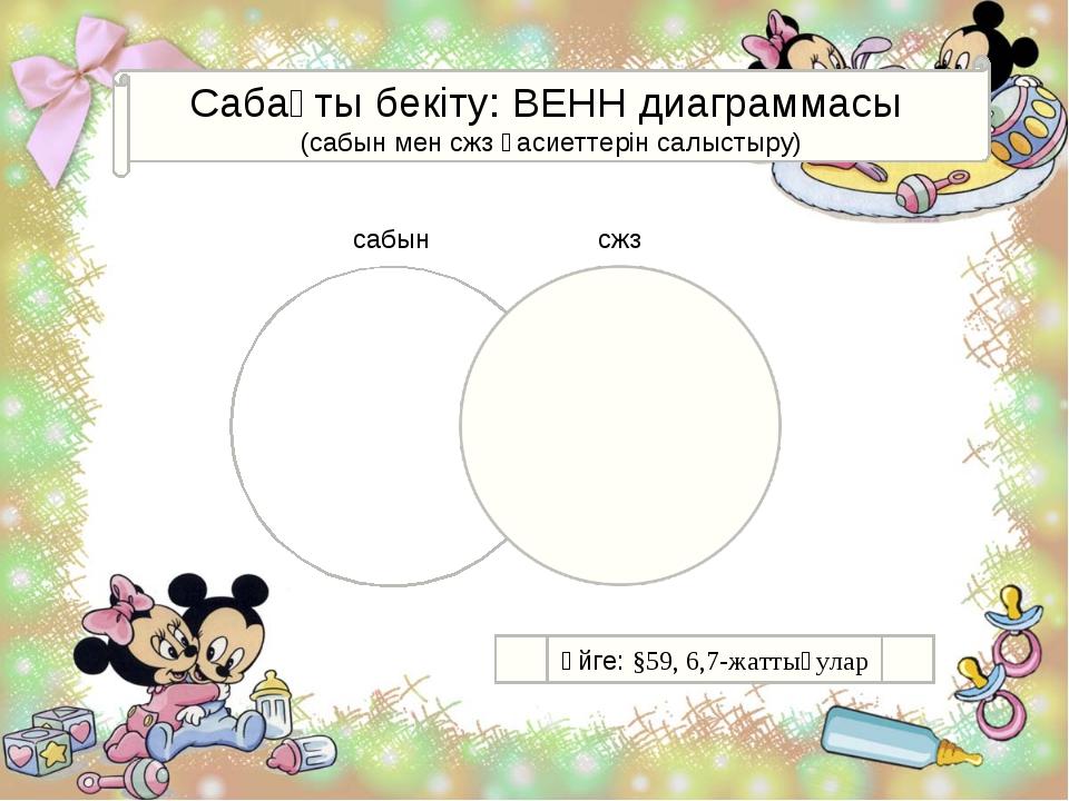 Сабақты бекіту: ВЕНН диаграммасы (сабын мен сжз қасиеттерін салыстыру) сабын...