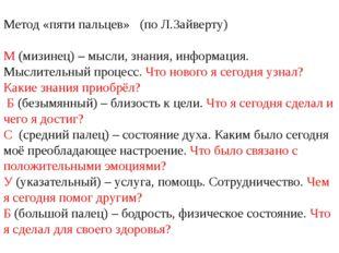 Метод «пяти пальцев» (по Л.Зайверту) М (мизинец) – мысли, знания, информация