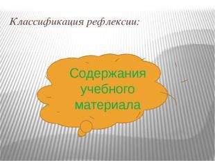 Классификация рефлексии: Содержания учебного материала