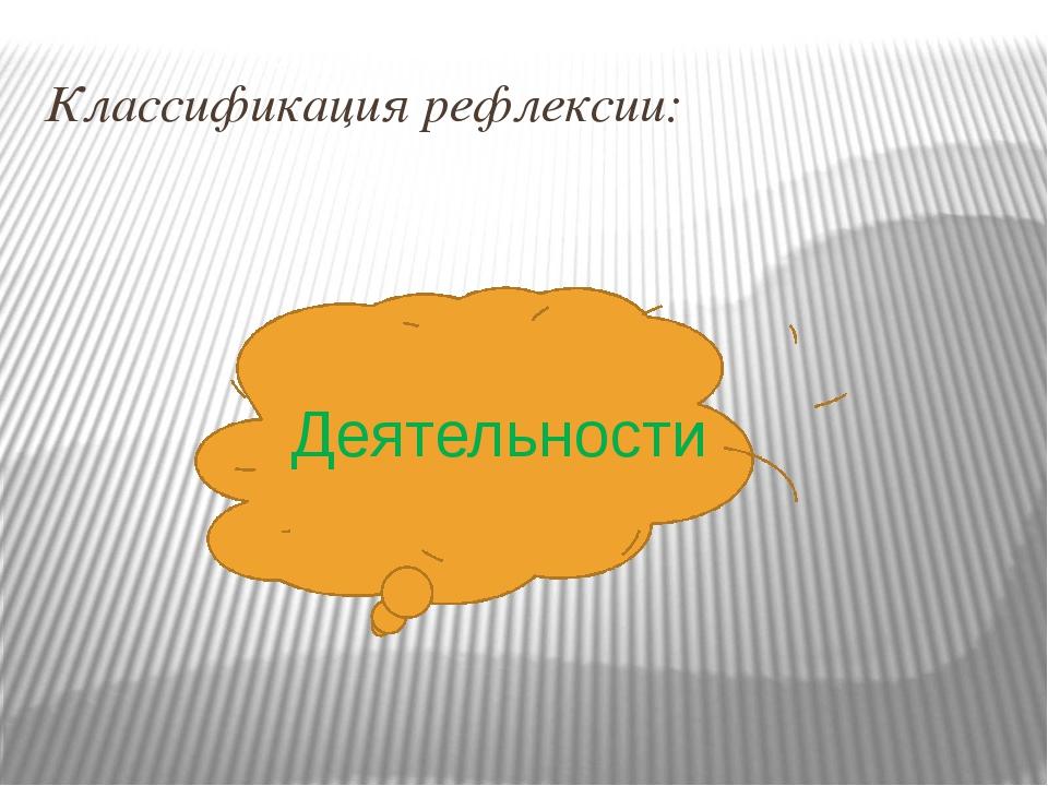 Классификация рефлексии: Деятельности