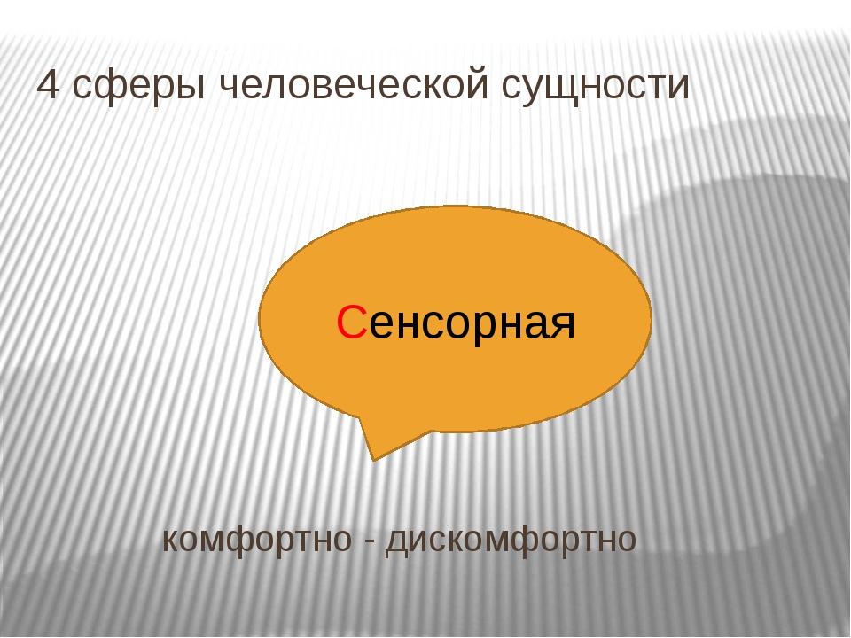 4 сферы человеческой сущности комфортно - дискомфортно Сенсорная