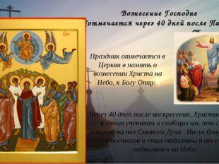 Вознесение Господне (отмечается через 40 дней после Пасхи) Через 40 дней посл