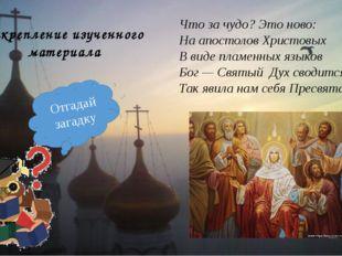 Закрепление изученного материала Что за чудо? Это ново: На апостолов Христовы