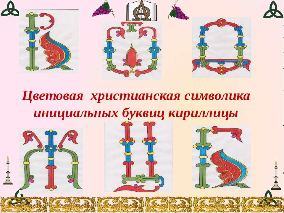 Цветовая христианская символика инициальных буквиц кириллицы