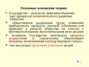 Основные положения теории: Государство – результат действия объектив- ных про