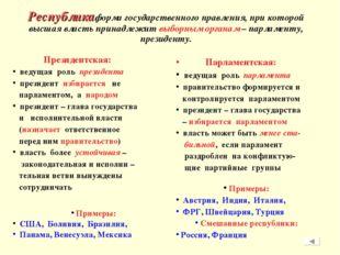 Республика форма государственного правления, при которой высшая власть прина
