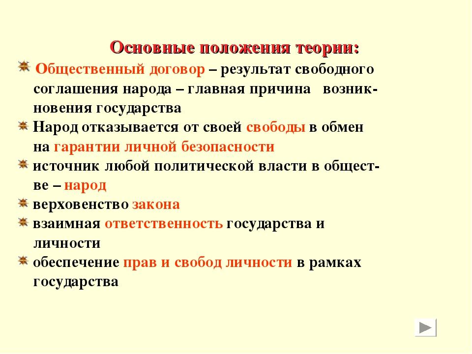 Основные положения теории: Общественный договор – результат свободного соглаш...