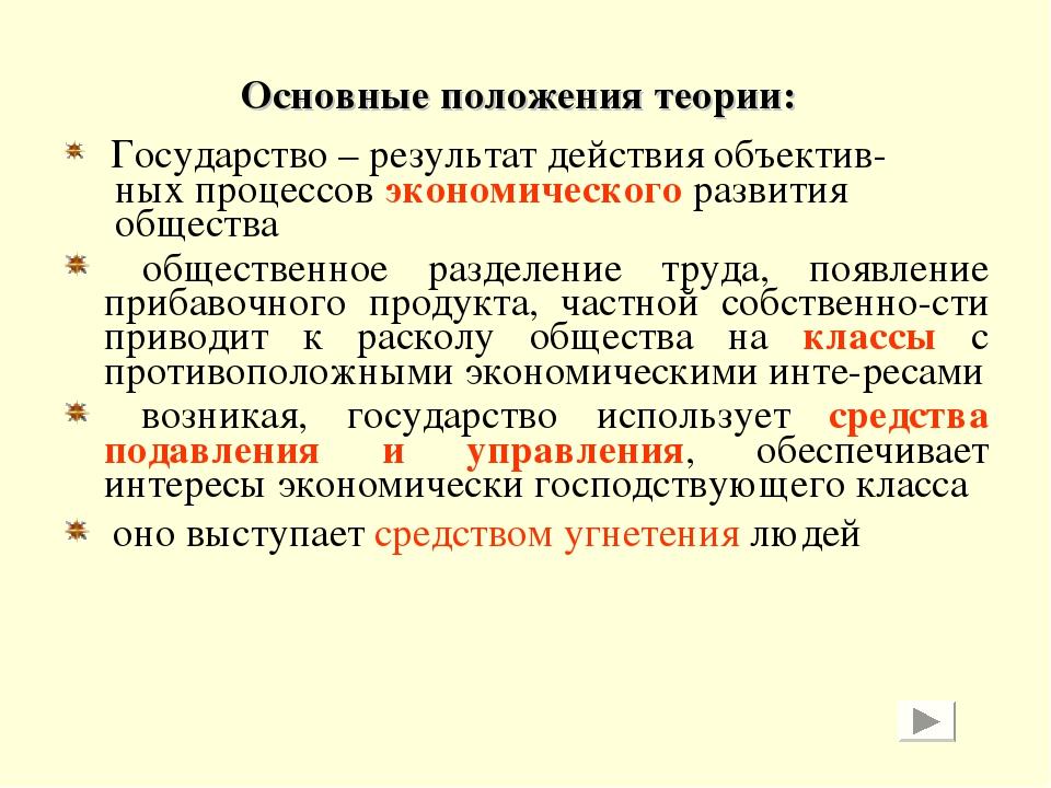 Основные положения теории: Государство – результат действия объектив- ных про...