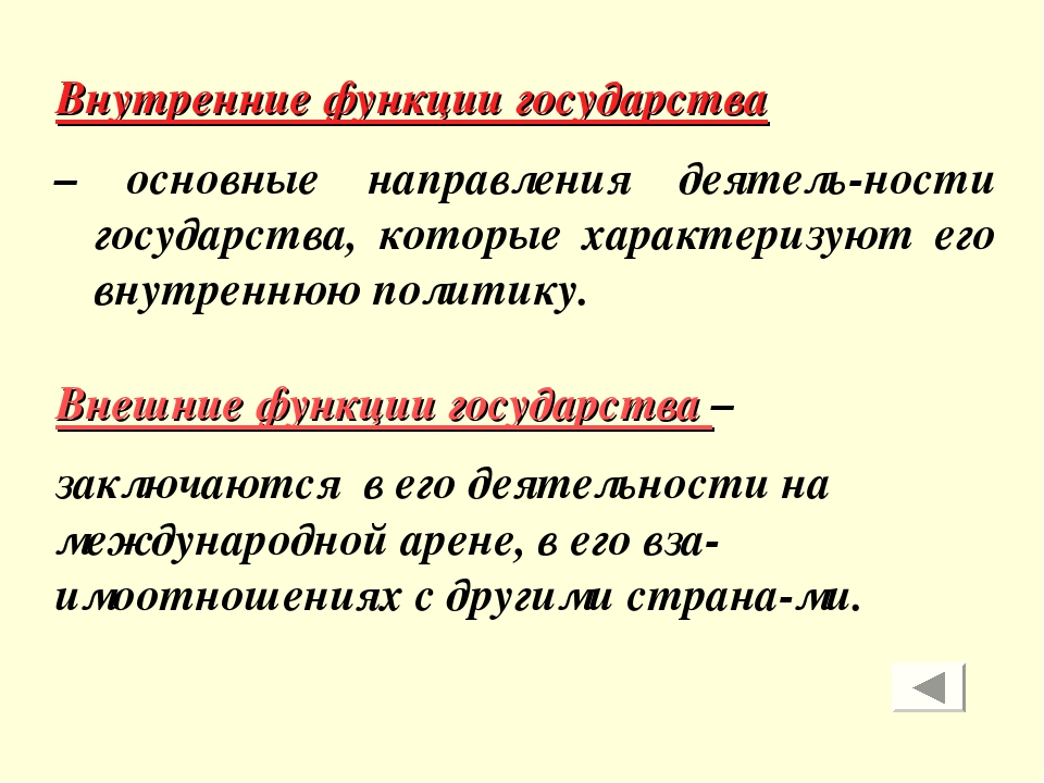 Внутренние функции государства – основные направления деятель-ности государст...