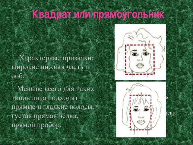 Квадрат или прямоугольник Характерные признаки: широкие нижняя часть и лоб. М...