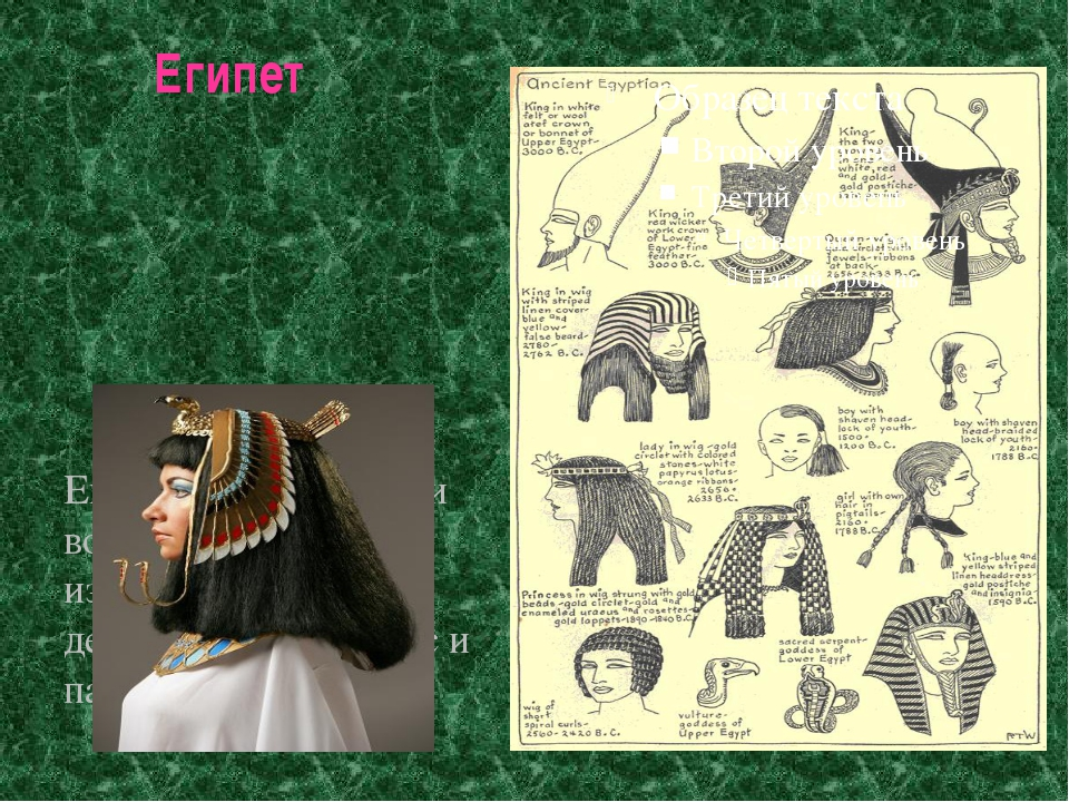 Египет Египтяне окрашивали волосы и ногти, изготовляли парики, делали завивку...