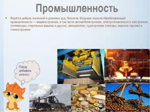 Ведётся добыча железной и урановых руд, бокситов. Ведущие отрасли обрабатываю