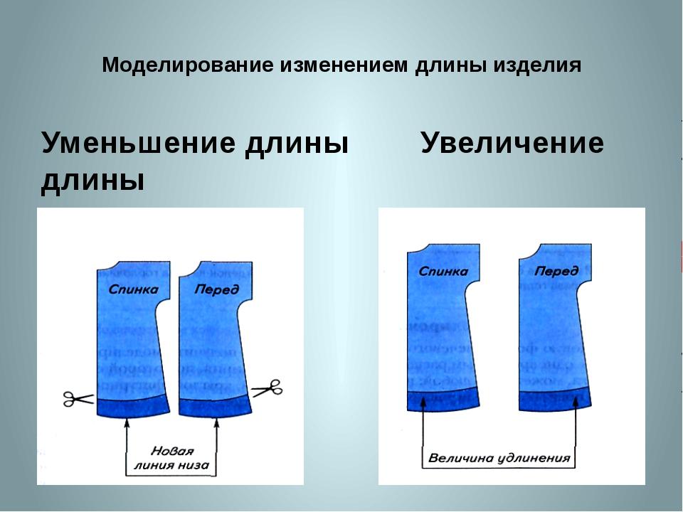 Моделирование изменением длины изделия Уменьшение длины Увеличение длины изде...