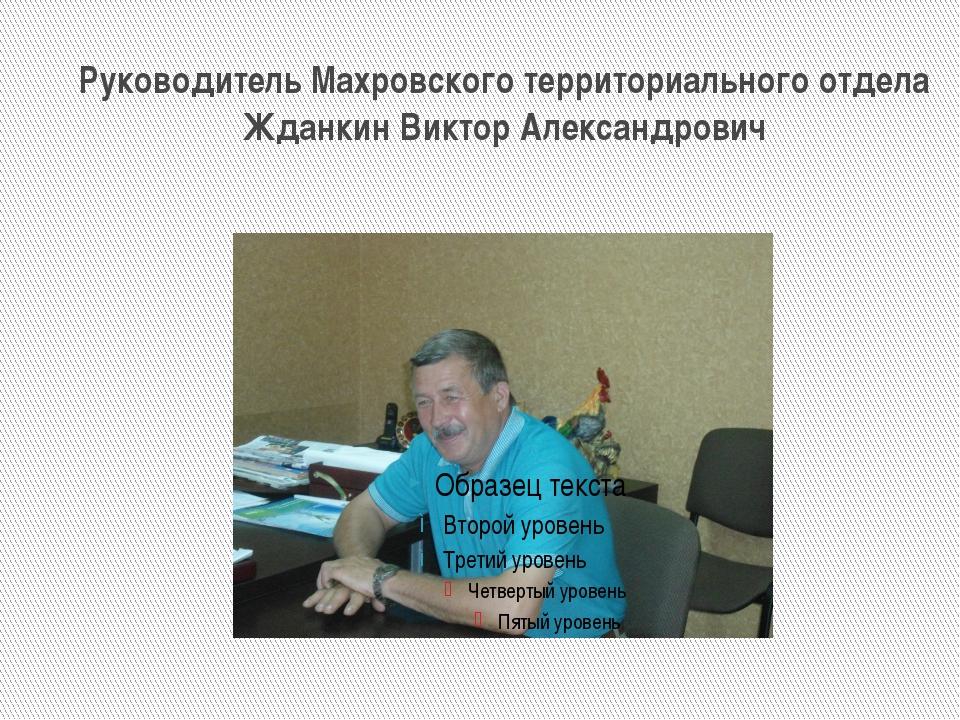 Руководитель Махровского территориального отдела Жданкин Виктор Александрович