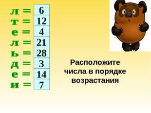 6 12 4 21 28 3 14 7 Расположите числа в порядке возрастания