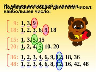 Подчеркните общие делители чисел: 9: 18: 15: 20: 36: 48: 1, 3, 9 1, 2, 3, 6,