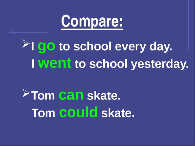 Compare: I go to school every day. I went to school yesterday. Tom can skate...