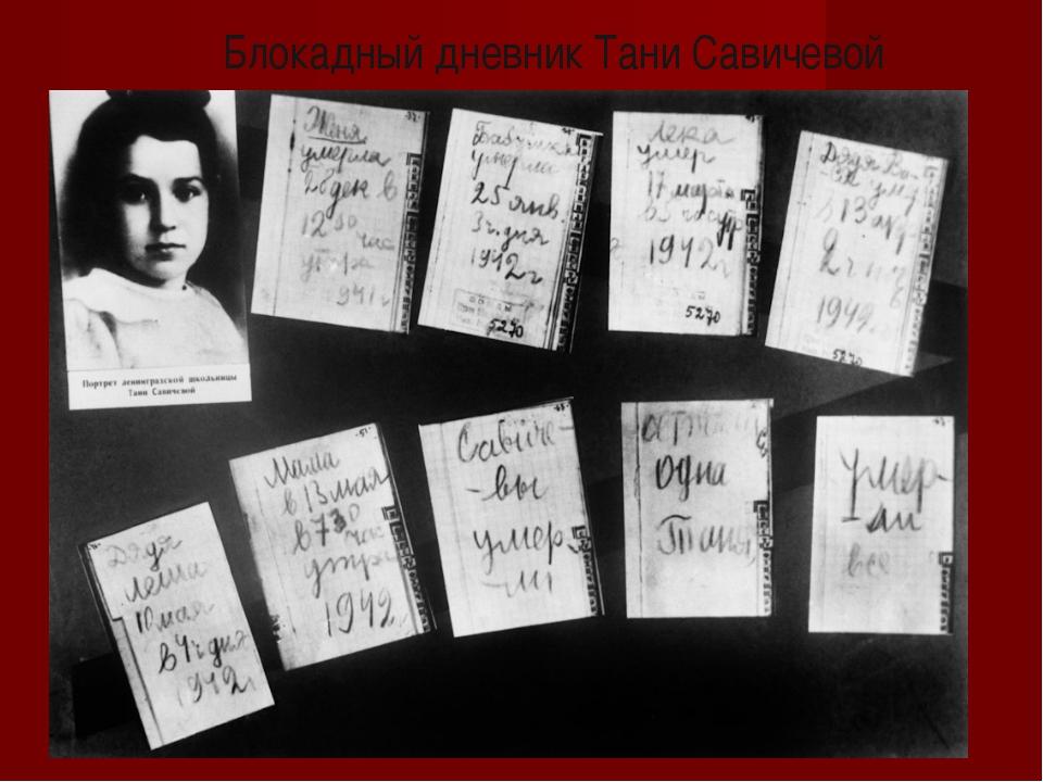 Блокадный дневник Тани Савичевой
