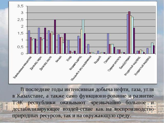 В последние годы интенсивная добыча нефти, газа, угля в Казахстане, а также с...