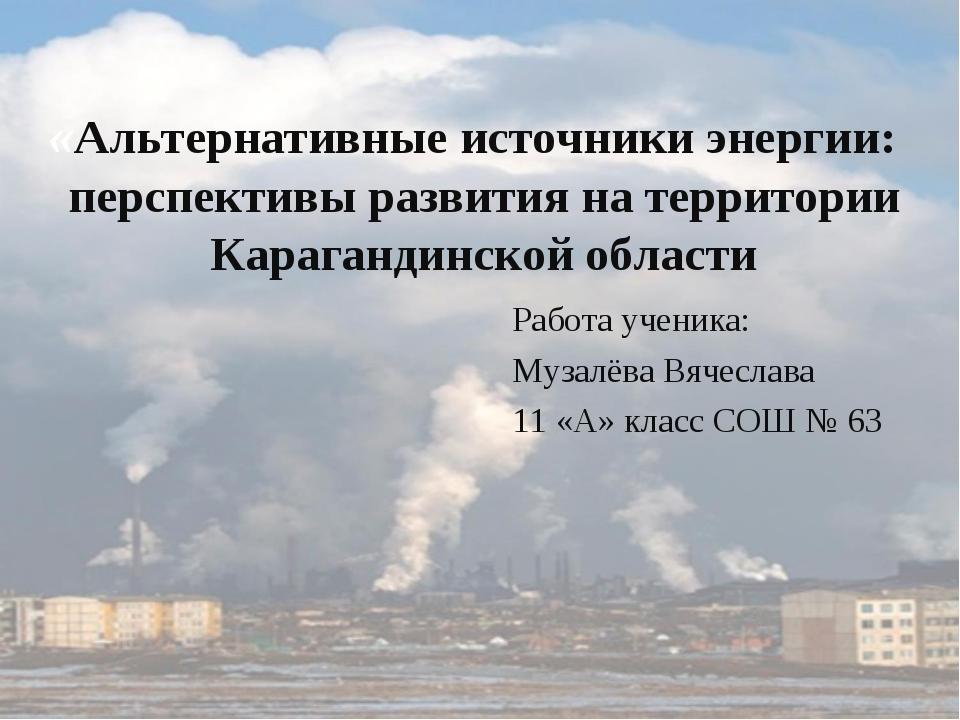 «Альтернативные источники энергии: перспективы развития на территории Карага...