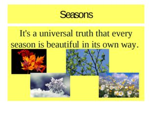 Seasons It's a universal truth that every season is beautiful in its own way.