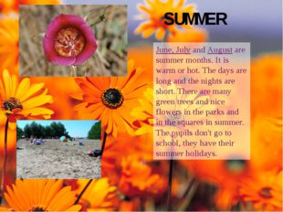 SUMMER June, July and August are summer months. It is warm or hot. The days a