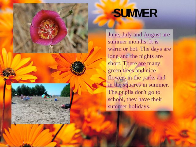 SUMMER June, July and August are summer months. It is warm or hot. The days a...