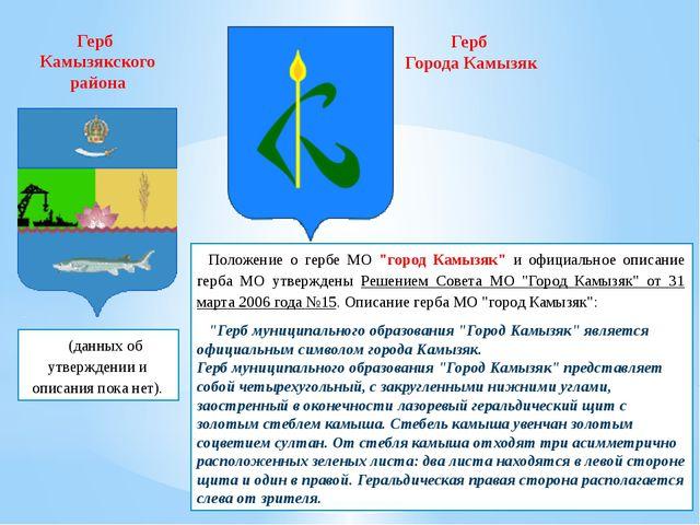 """(данных об утверждении и описания пока нет). Положение о гербе МО """"город Кам..."""