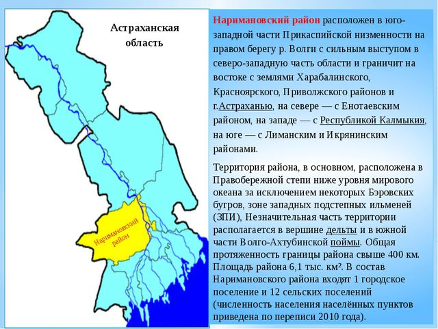 Наримановский район расположен в юго-западной части Прикаспийской низменности...
