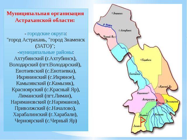 """Муниципальная организация Астраханской области: - городские округа: """"город А..."""