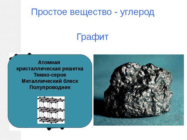 Простое вещество - углерод Графит Атомная кристаллическая решетка Темно-серое...