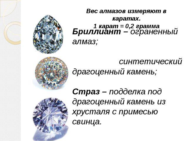 Бриллиант – ограненный алмаз; Фиани́т – синтетический драгоценный камень; Стр...