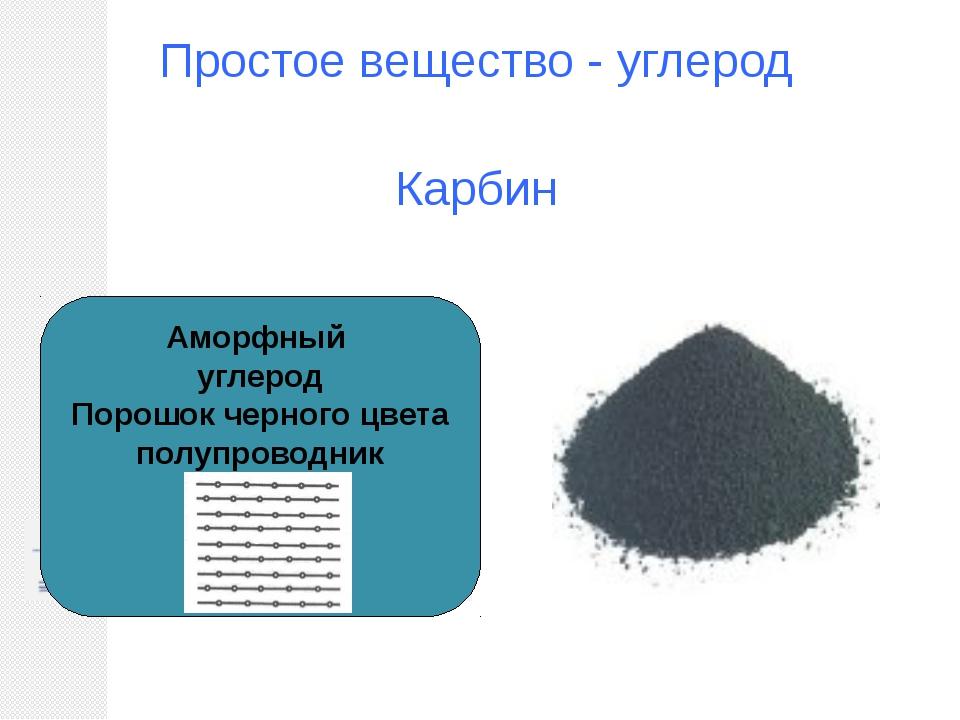 Простое вещество - углерод Карбин Аморфный углерод Порошок черного цвета полу...