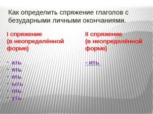 Как определить спряжение глаголов с безударными личными окончаниями. I спряже