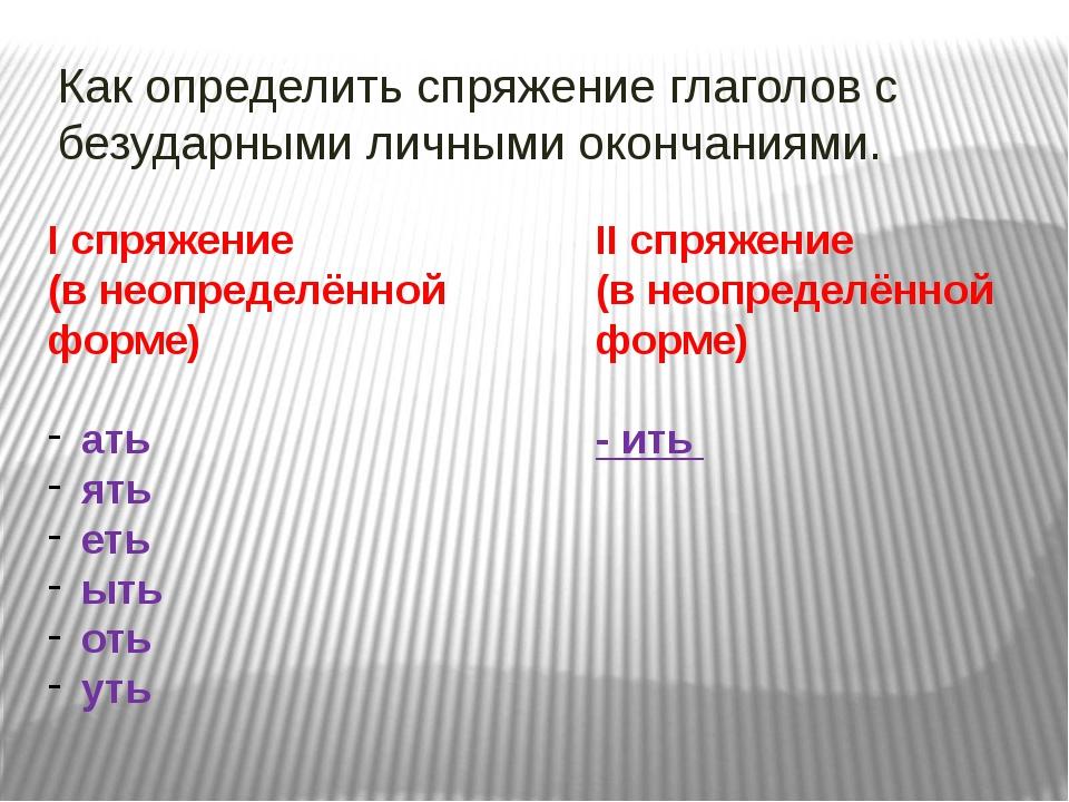 Как определить спряжение глаголов с безударными личными окончаниями. I спряже...