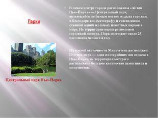 Парки В самом центре города расположены «лёгкие Нью-Йорка» — Центральный парк