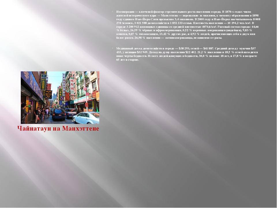Иммиграция — ключевой фактор стремительного роста населения города. В 1870-х...