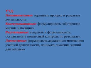 УУД: Познавательные: оценивать процесс и результат деятельности. Коммуникатив