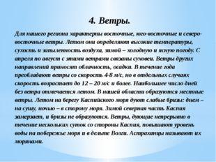 4. Ветры. Для нашего региона характерны восточные, юго-восточные и северо-вос