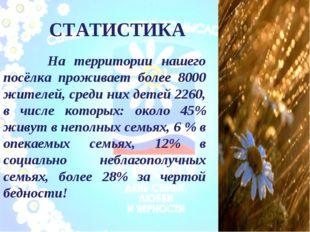 СТАТИСТИКА На территории нашего посёлка проживает более 8000 жителей, среди н