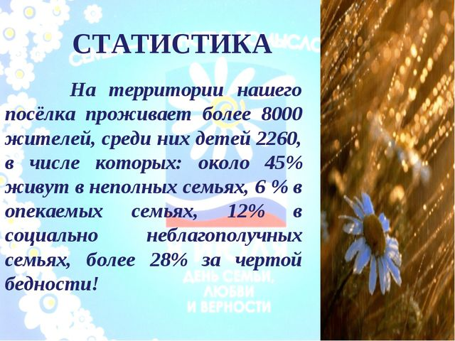 СТАТИСТИКА На территории нашего посёлка проживает более 8000 жителей, среди н...