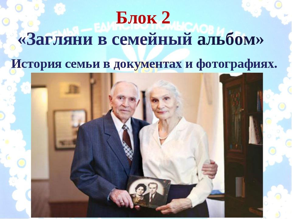 Блок 2 «Загляни в семейный альбом» История семьи в документах и фотографиях.
