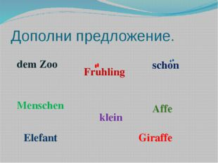 Дополни предложение. dem Zoo Fruhling schon Menschen klein Affe Elefant Giraffe