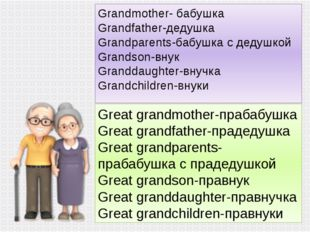 Grandmother- бабушка Grandfather-дедушка Grandparents-бабушка с дедушкой Gran