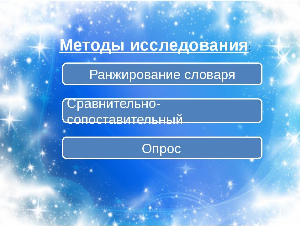 Методы исследования: Сравнительно-сопоставительный Ранжирование словаря Опрос
