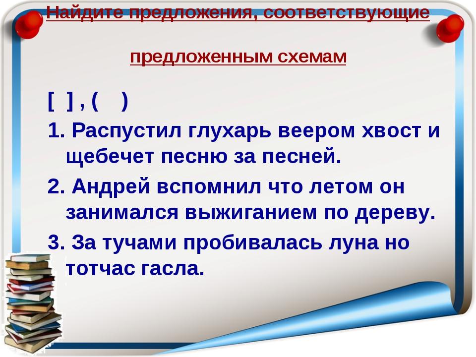 Найдите предложения, соответствующие предложенным схемам [ ] , ( ) 1. Распуст...