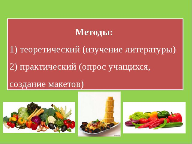Методы: 1) теоретический (изучение литературы) 2) практический (опрос учащихс...