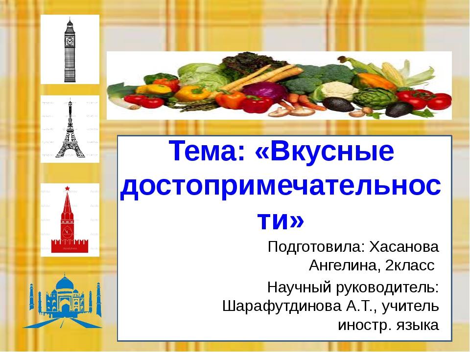 Тем Тема: «Вкусные достопримечательности» Подготовила: Хасанова Ангелина, 2кл...