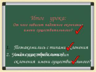 Итог урока: От чего зависит падежное окончание имени существительного? Познак
